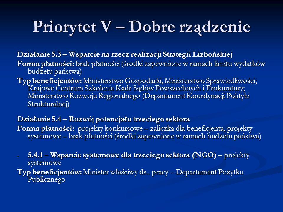 Priorytet V – Dobre rządzenie Działanie 5.3 – Wsparcie na rzecz realizacji Strategii Lizbońskiej Forma płatności: brak płatności (środki zapewnione w