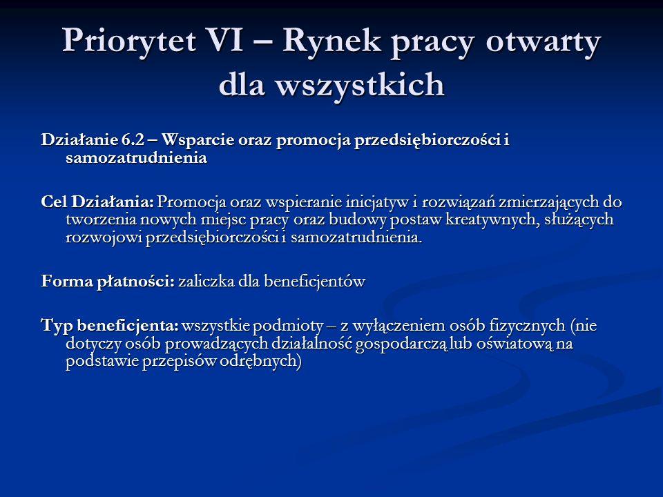 Priorytet VI – Rynek pracy otwarty dla wszystkich Działanie 6.2 – Wsparcie oraz promocja przedsiębiorczości i samozatrudnienia Cel Działania: Promocja