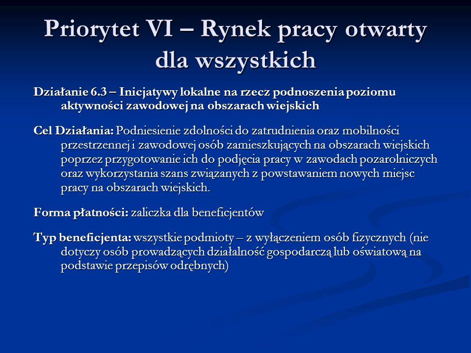 Priorytet VI – Rynek pracy otwarty dla wszystkich Działanie 6.3 – Inicjatywy lokalne na rzecz podnoszenia poziomu aktywności zawodowej na obszarach wi