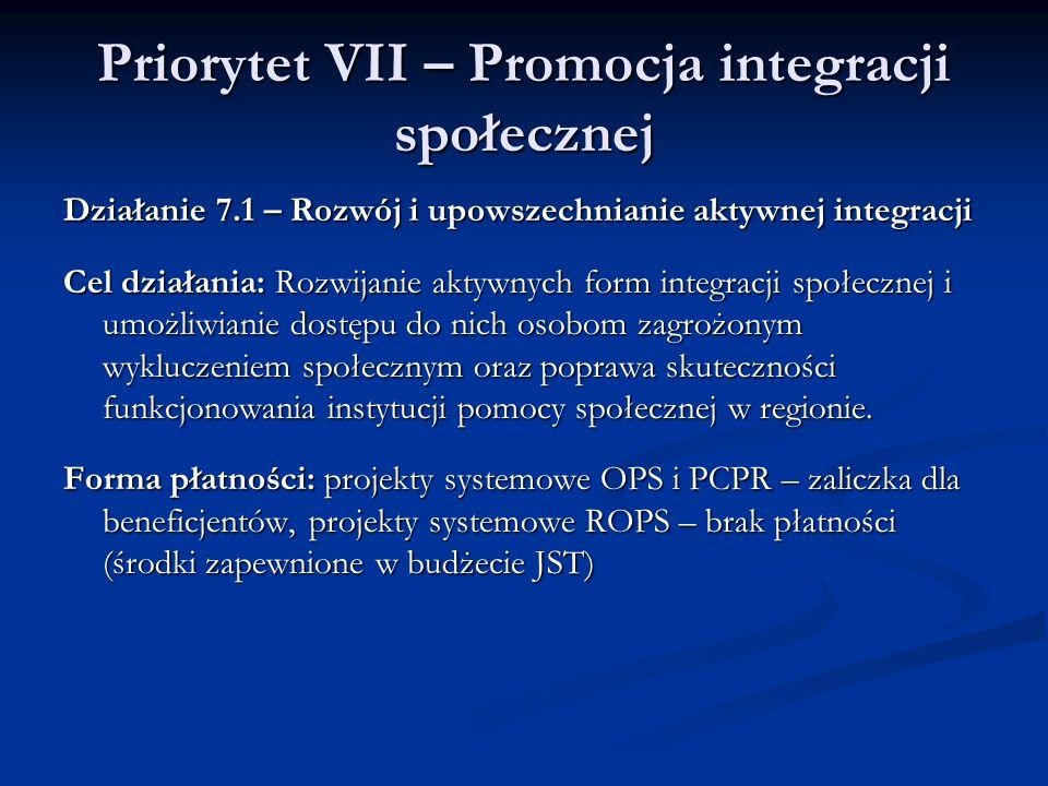 Priorytet VII – Promocja integracji społecznej Działanie 7.1 – Rozwój i upowszechnianie aktywnej integracji Cel działania: Rozwijanie aktywnych form i