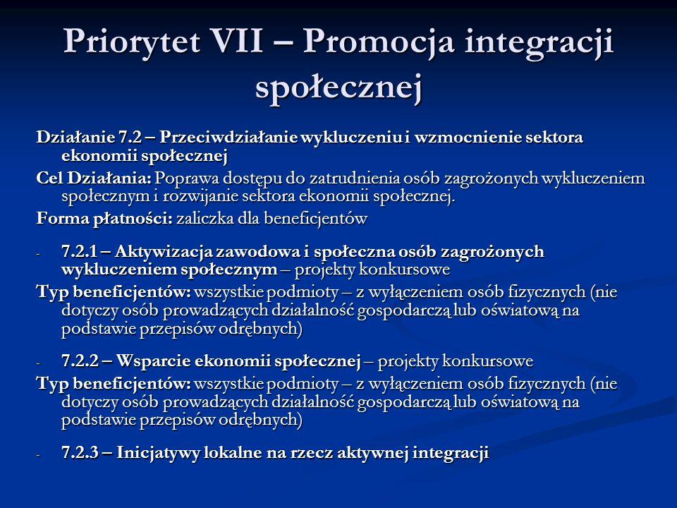 Priorytet VII – Promocja integracji społecznej Działanie 7.2 – Przeciwdziałanie wykluczeniu i wzmocnienie sektora ekonomii społecznej Cel Działania: P