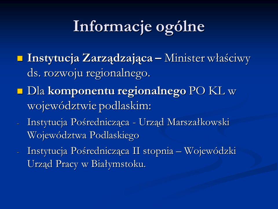 Informacje ogólne Instytucja Zarządzająca – Minister właściwy ds. rozwoju regionalnego. Instytucja Zarządzająca – Minister właściwy ds. rozwoju region