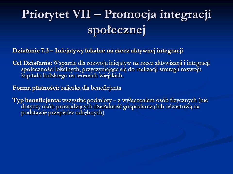 Priorytet VII – Promocja integracji społecznej Działanie 7.3 – Inicjatywy lokalne na rzecz aktywnej integracji Cel Działania: Wsparcie dla rozwoju ini