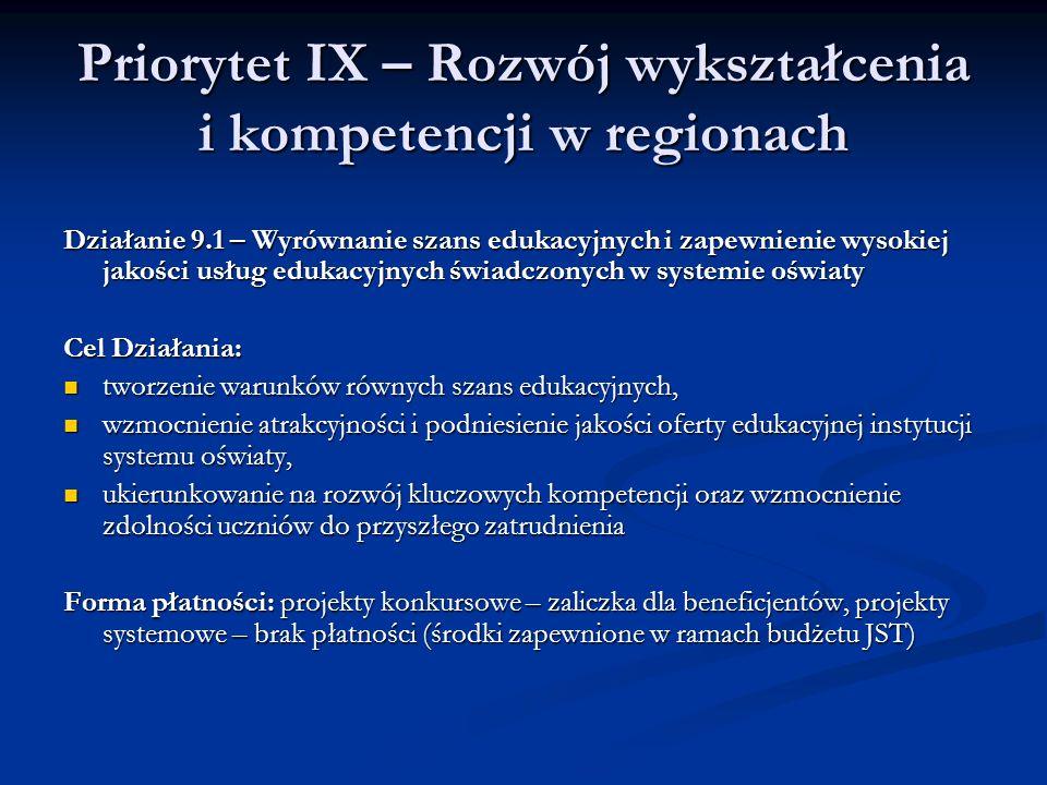 Priorytet IX – Rozwój wykształcenia i kompetencji w regionach Działanie 9.1 – Wyrównanie szans edukacyjnych i zapewnienie wysokiej jakości usług eduka