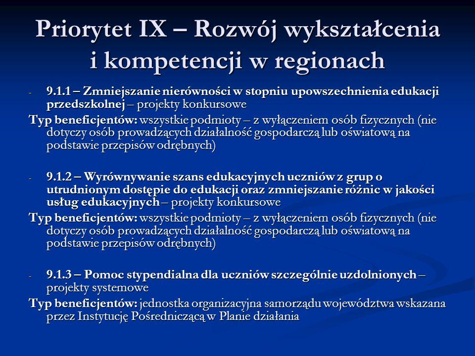 Priorytet IX – Rozwój wykształcenia i kompetencji w regionach - 9.1.1 – Zmniejszanie nierówności w stopniu upowszechnienia edukacji przedszkolnej – pr