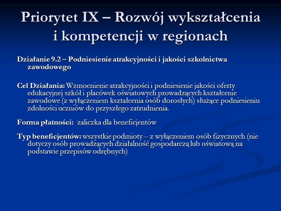 Priorytet IX – Rozwój wykształcenia i kompetencji w regionach Działanie 9.2 – Podniesienie atrakcyjności i jakości szkolnictwa zawodowego Cel Działani