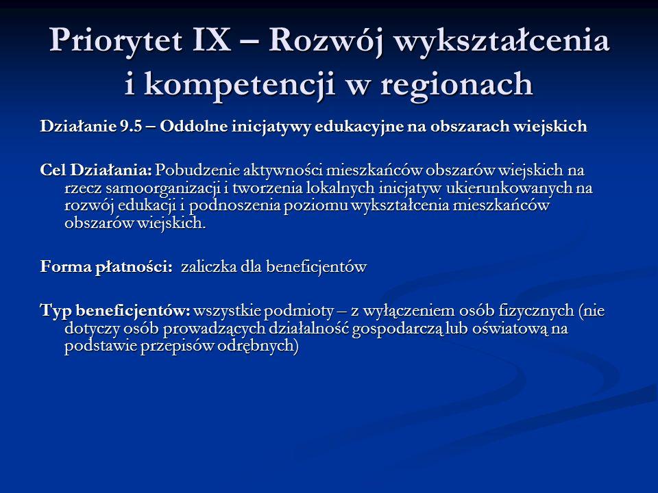Priorytet IX – Rozwój wykształcenia i kompetencji w regionach Działanie 9.5 – Oddolne inicjatywy edukacyjne na obszarach wiejskich Cel Działania: Pobu