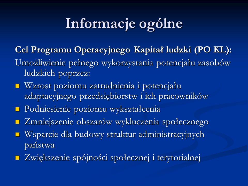 Informacje ogólne Cel Programu Operacyjnego Kapitał ludzki (PO KL): Umożliwienie pełnego wykorzystania potencjału zasobów ludzkich poprzez: Wzrost poz