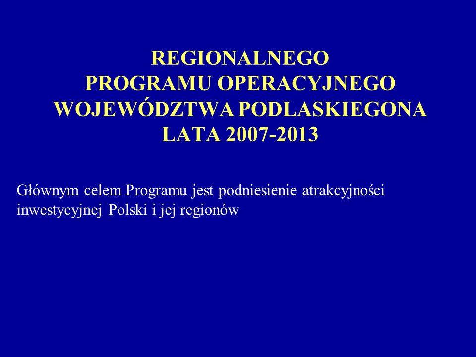 REGIONALNEGO PROGRAMU OPERACYJNEGO WOJEWÓDZTWA PODLASKIEGONA LATA 2007-2013 Głównym celem Programu jest podniesienie atrakcyjności inwestycyjnej Polski i jej regionów