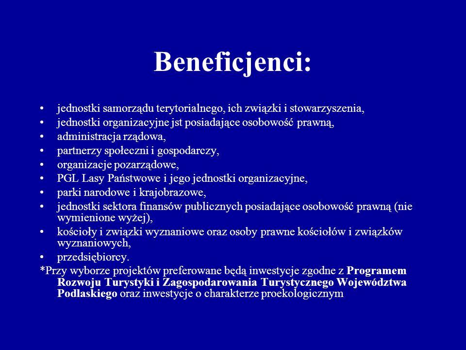 Beneficjenci: jednostki samorządu terytorialnego, ich związki i stowarzyszenia, jednostki organizacyjne jst posiadające osobowość prawną, administracja rządowa, partnerzy społeczni i gospodarczy, organizacje pozarządowe, PGL Lasy Państwowe i jego jednostki organizacyjne, parki narodowe i krajobrazowe, jednostki sektora finansów publicznych posiadające osobowość prawną (nie wymienione wyżej), kościoły i związki wyznaniowe oraz osoby prawne kościołów i związków wyznaniowych, przedsiębiorcy.
