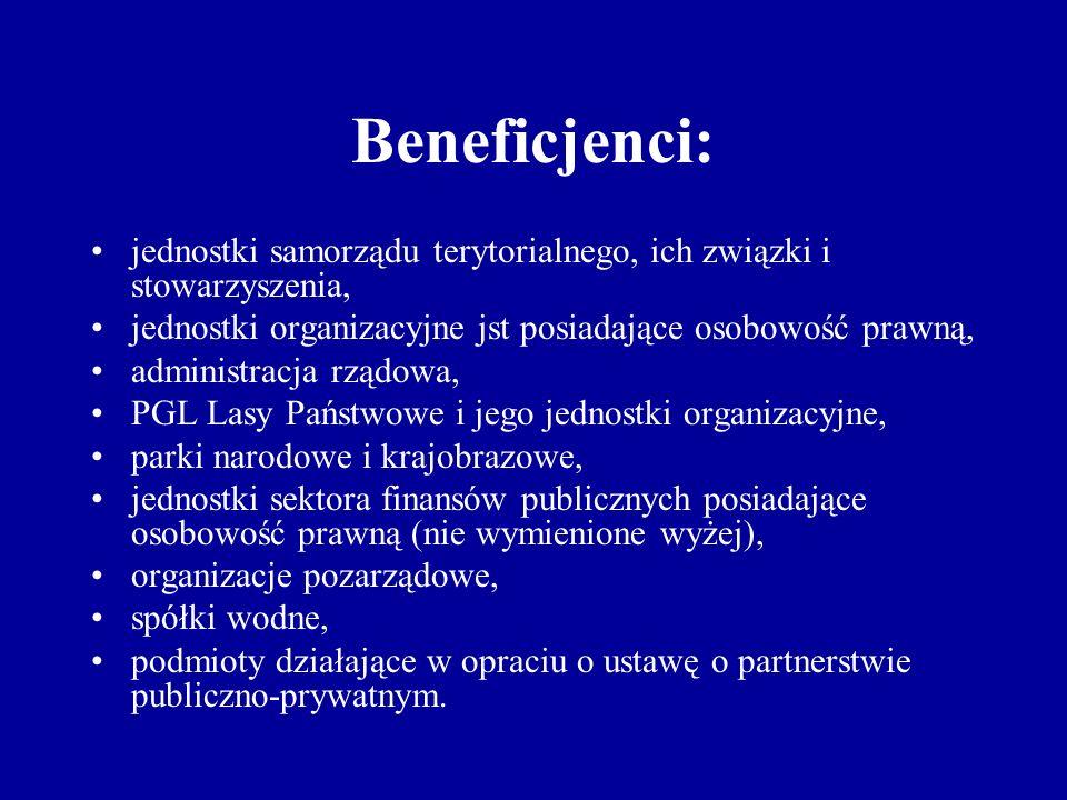 Beneficjenci: jednostki samorządu terytorialnego, ich związki i stowarzyszenia, jednostki organizacyjne jst posiadające osobowość prawną, administracja rządowa, PGL Lasy Państwowe i jego jednostki organizacyjne, parki narodowe i krajobrazowe, jednostki sektora finansów publicznych posiadające osobowość prawną (nie wymienione wyżej), organizacje pozarządowe, spółki wodne, podmioty działające w opraciu o ustawę o partnerstwie publiczno-prywatnym.