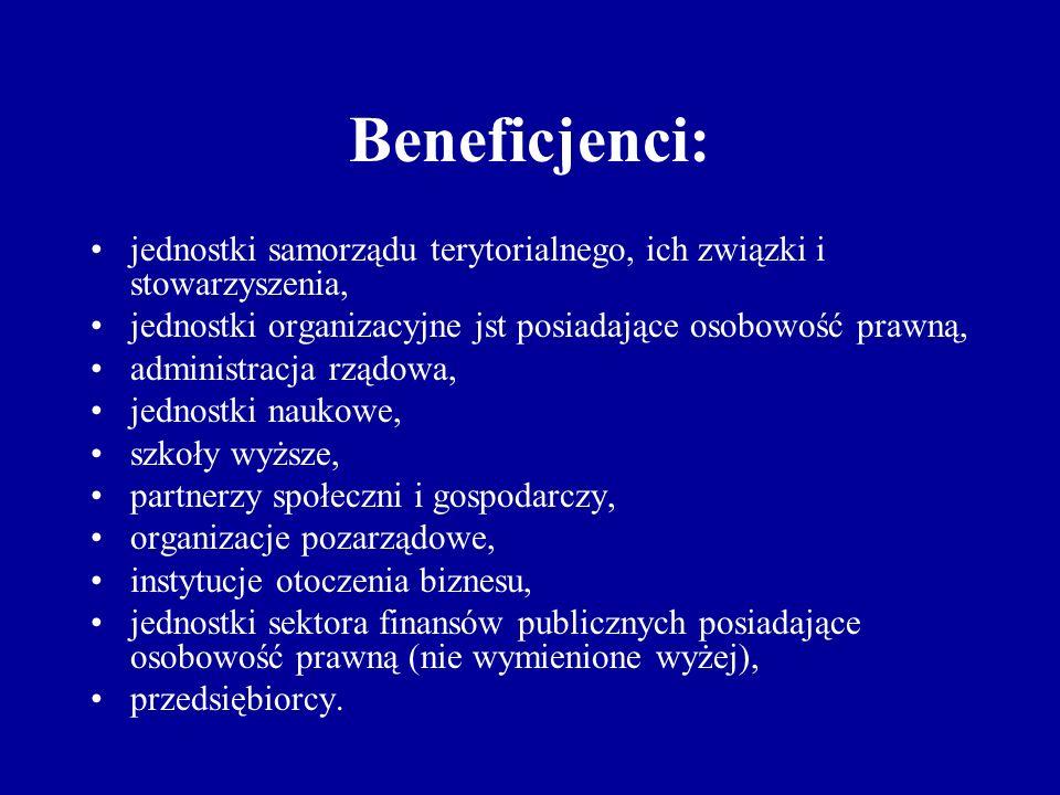 Beneficjenci: jednostki samorządu terytorialnego, ich związki i stowarzyszenia, jednostki organizacyjne jst posiadające osobowość prawną, administracja rządowa, jednostki naukowe, szkoły wyższe, partnerzy społeczni i gospodarczy, organizacje pozarządowe, instytucje otoczenia biznesu, jednostki sektora finansów publicznych posiadające osobowość prawną (nie wymienione wyżej), przedsiębiorcy.