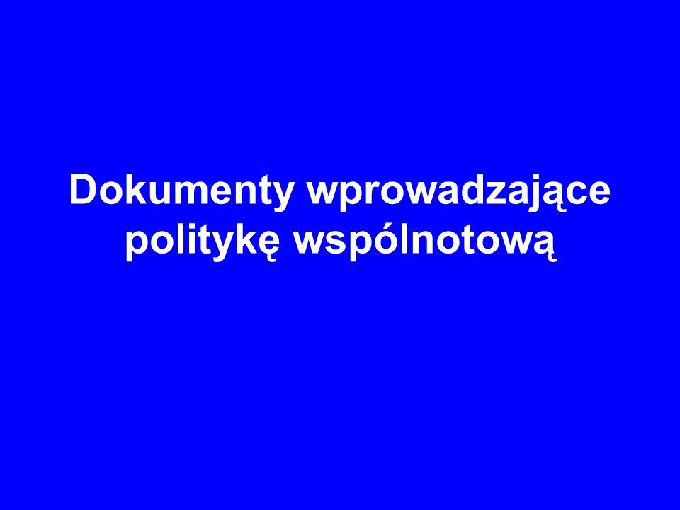 Dokumenty wprowadzające politykę wspólnotową