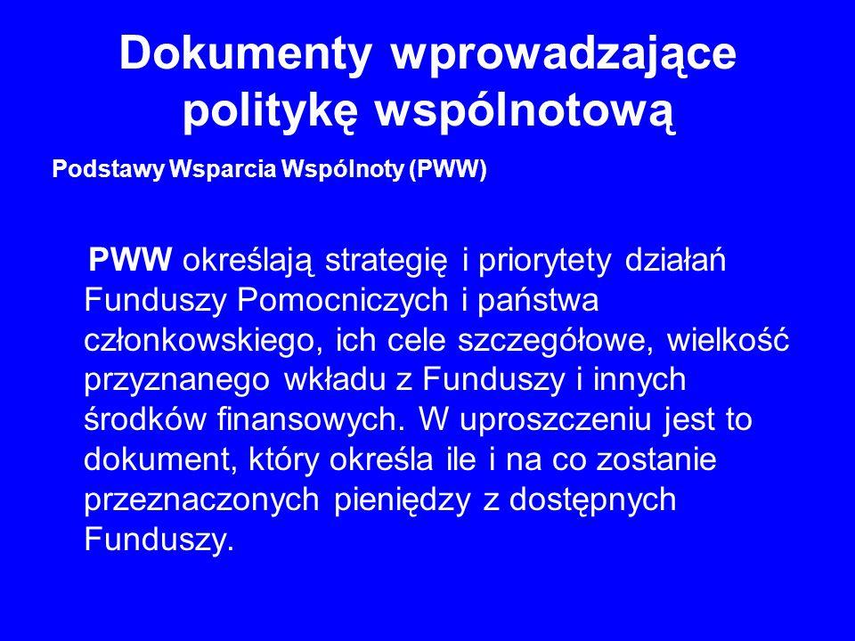 Dokumenty wprowadzające politykę wspólnotową Podstawy Wsparcia Wspólnoty (PWW) PWW określają strategię i priorytety działań Funduszy Pomocniczych i państwa członkowskiego, ich cele szczegółowe, wielkość przyznanego wkładu z Funduszy i innych środków finansowych.