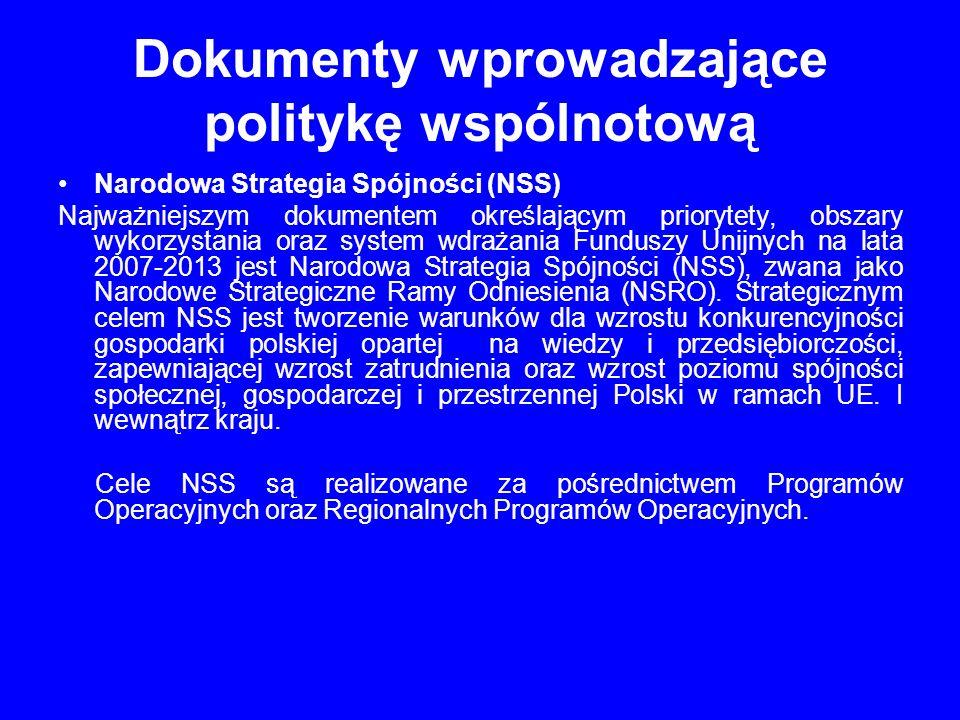 Dokumenty wprowadzające politykę wspólnotową Narodowa Strategia Spójności (NSS) Najważniejszym dokumentem określającym priorytety, obszary wykorzystan