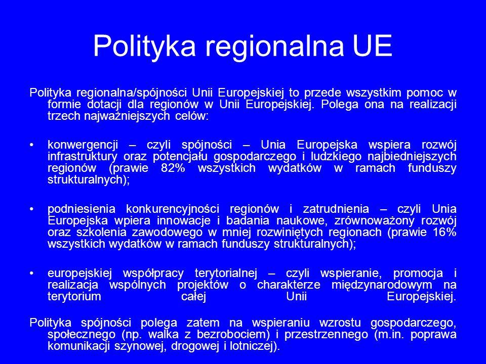 Polityka regionalna UE Polityka regionalna/spójności Unii Europejskiej to przede wszystkim pomoc w formie dotacji dla regionów w Unii Europejskiej.