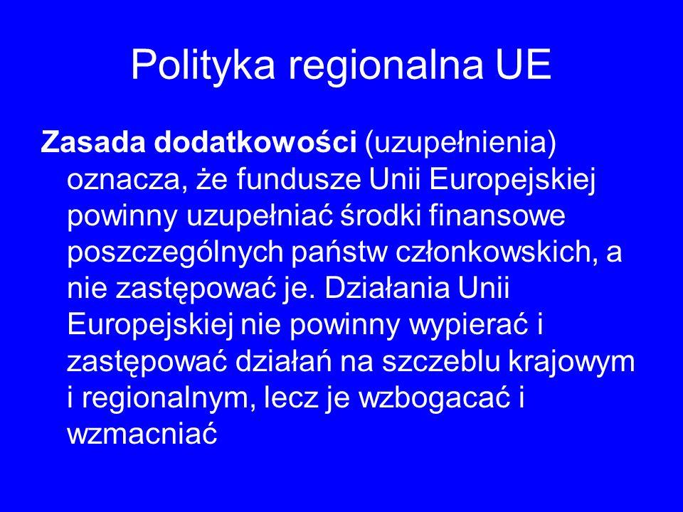 Polityka regionalna UE Zasada dodatkowości (uzupełnienia) oznacza, że fundusze Unii Europejskiej powinny uzupełniać środki finansowe poszczególnych państw członkowskich, a nie zastępować je.