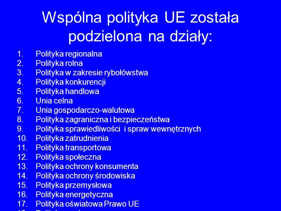 Wspólna polityka UE została podzielona na działy: 1.Polityka regionalna 2.Polityka rolna 3.Polityka w zakresie rybołówstwa 4.Polityka konkurencji 5.Polityka handlowa 6.Unia celna 7.Unia gospodarczo-walutowa 8.Polityka zagraniczna i bezpieczeństwa 9.Polityka sprawiedliwości i spraw wewnętrznych 10.Polityka zatrudnienia 11.Polityka transportowa 12.Polityka społeczna 13.Polityka ochrony konsumenta 14.Polityka ochrony środowiska 15.Polityka przemysłowa 16.Polityka energetyczna 17.Polityka oświatowa Prawo UE 18.Polityka naukowa 19.Polityka kulturalna