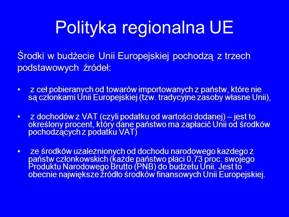 Polityka regionalna UE Środki w budżecie Unii Europejskiej pochodzą z trzech podstawowych źródeł: z ceł pobieranych od towarów importowanych z państw, które nie są członkami Unii Europejskiej (tzw.