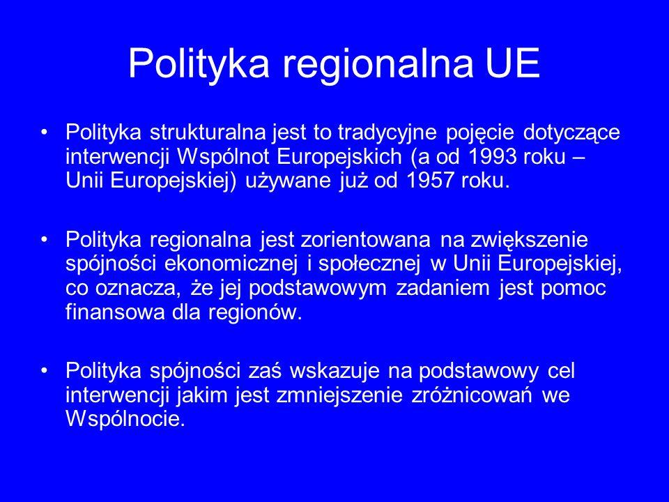 Polityka regionalna UE Praktycznie jednak pojęcia te są często używane zamiennie, w związku z czym można przyjąć, że polityka regionalna, polityka strukturalna i polityka spójności Unii Europejskiej ma ten sam cel – wyrównanie różnic gospodarczych między regionami Unii Europejskiej i w efekcie – ich mieszkańcami.