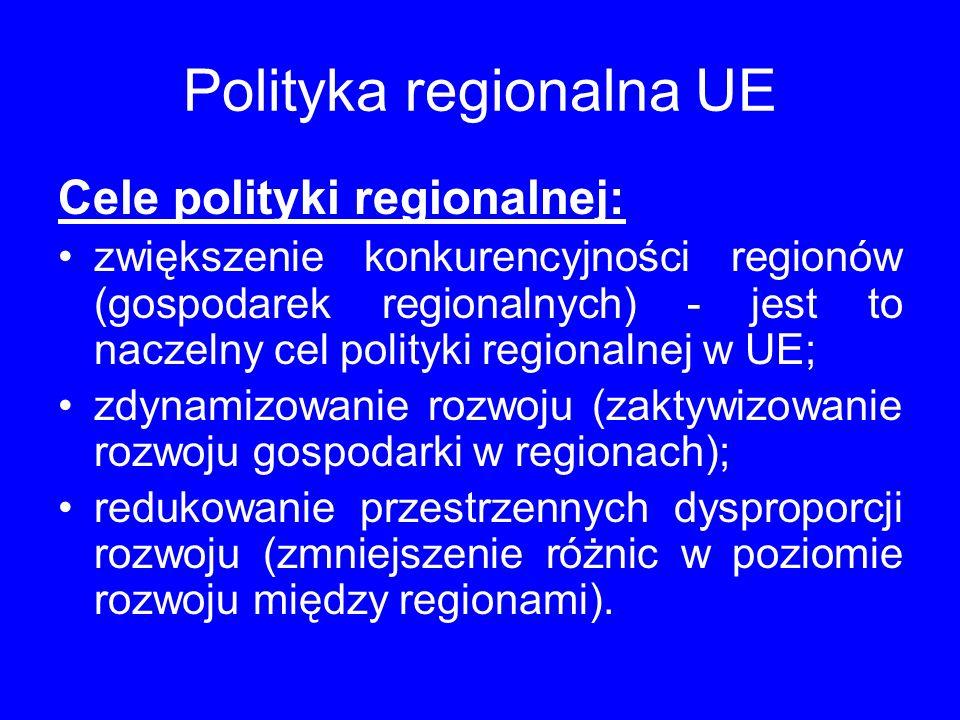 Polityka regionalna UE Cele polityki regionalnej: zwiększenie konkurencyjności regionów (gospodarek regionalnych) - jest to naczelny cel polityki regionalnej w UE; zdynamizowanie rozwoju (zaktywizowanie rozwoju gospodarki w regionach); redukowanie przestrzennych dysproporcji rozwoju (zmniejszenie różnic w poziomie rozwoju między regionami).
