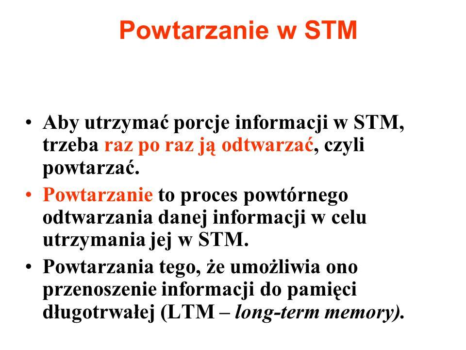 Powtarzanie w STM Aby utrzymać porcje informacji w STM, trzeba raz po raz ją odtwarzać, czyli powtarzać. Powtarzanie to proces powtórnego odtwarzania