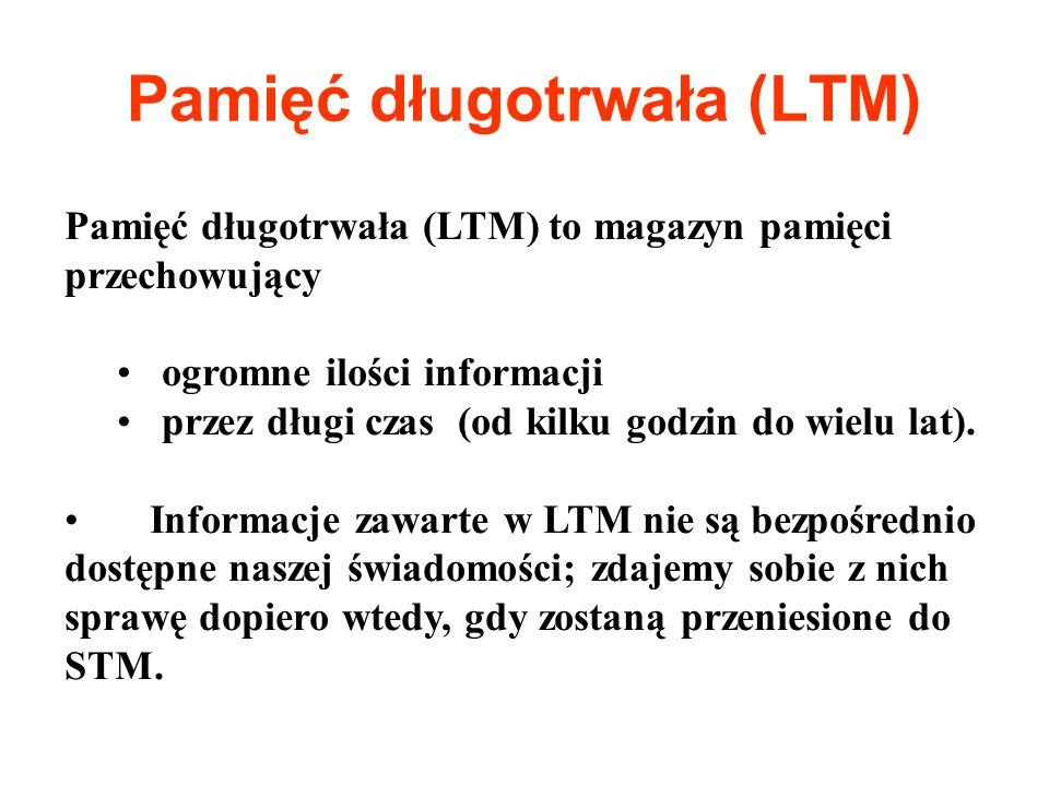 Pamięć długotrwała (LTM) Pamięć długotrwała (LTM) to magazyn pamięci przechowujący ogromne ilości informacji przez długi czas (od kilku godzin do wiel