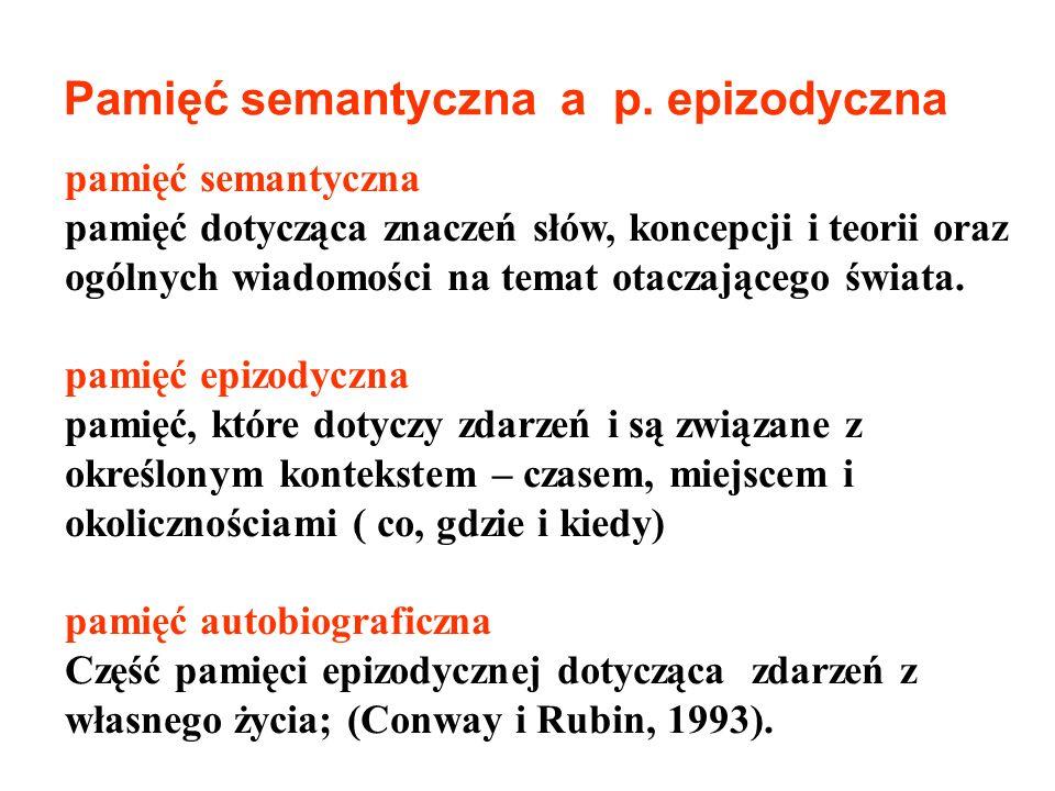 Pamięć semantyczna a p. epizodyczna pamięć semantyczna pamięć dotycząca znaczeń słów, koncepcji i teorii oraz ogólnych wiadomości na temat otaczająceg
