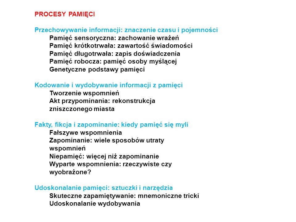 PROCESY PAMIĘCI Przechowywanie informacji: znaczenie czasu i pojemności Pamięć sensoryczna: zachowanie wrażeń Pamięć krótkotrwała: zawartość świadomoś
