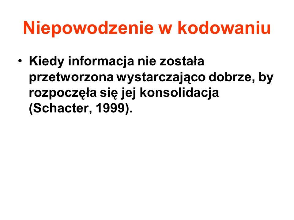 Niepowodzenie w kodowaniu Kiedy informacja nie została przetworzona wystarczająco dobrze, by rozpoczęła się jej konsolidacja (Schacter, 1999).