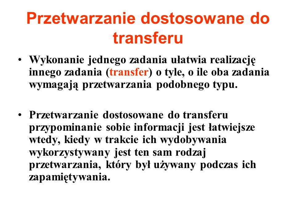 Przetwarzanie dostosowane do transferu Wykonanie jednego zadania ułatwia realizację innego zadania (transfer) o tyle, o ile oba zadania wymagają przet