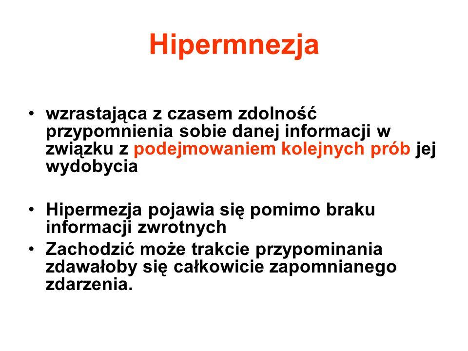 Hipermnezja wzrastająca z czasem zdolność przypomnienia sobie danej informacji w związku z podejmowaniem kolejnych prób jej wydobycia Hipermezja pojaw
