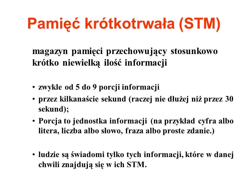Pamięć krótkotrwała (STM) magazyn pamięci przechowujący stosunkowo krótko niewielką ilość informacji zwykle od 5 do 9 porcji informacji przez kilkanaś