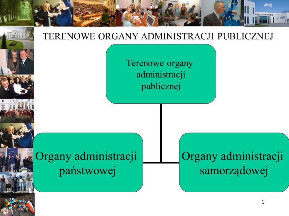 1 TERENOWE ORGANY ADMINISTRACJI PUBLICZNEJ Terenowe organy administracji publicznej Organy administracji państwowej Organy administracji samorządowej