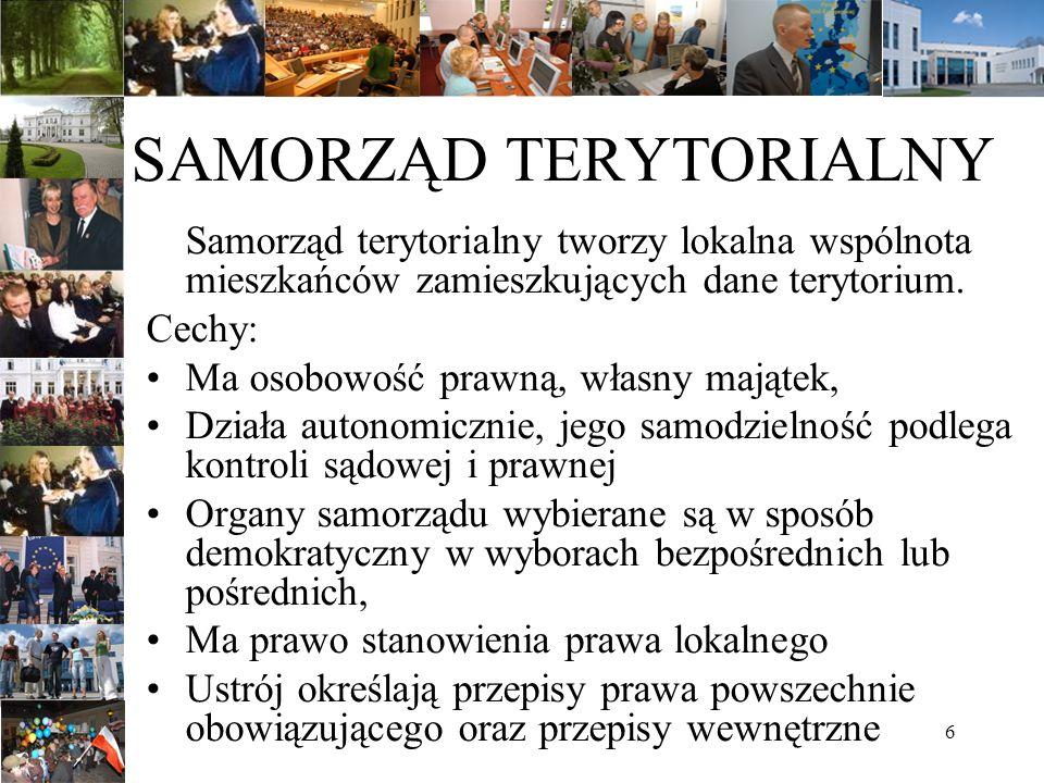 6 SAMORZĄD TERYTORIALNY Samorząd terytorialny tworzy lokalna wspólnota mieszkańców zamieszkujących dane terytorium. Cechy: Ma osobowość prawną, własny