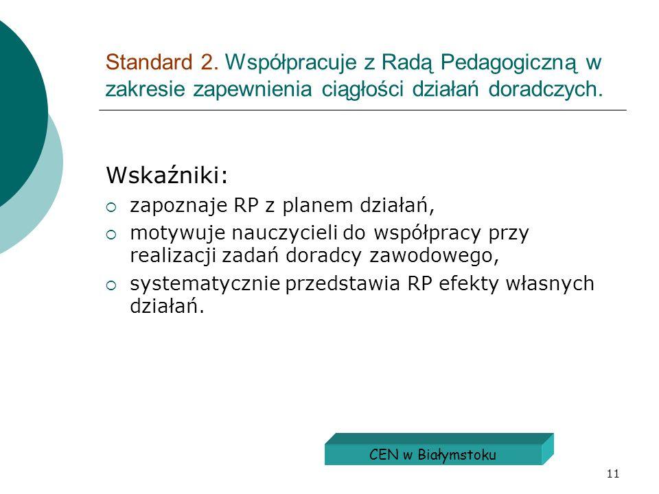 11 Standard 2. Współpracuje z Radą Pedagogiczną w zakresie zapewnienia ciągłości działań doradczych. Wskaźniki: zapoznaje RP z planem działań, motywuj