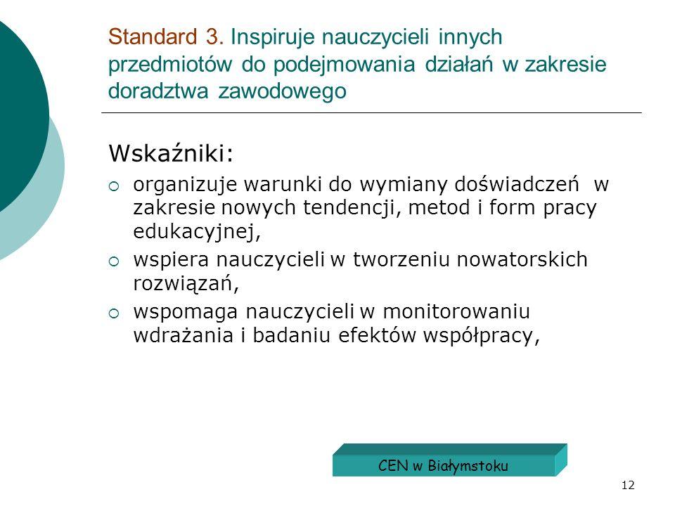 12 Standard 3. Inspiruje nauczycieli innych przedmiotów do podejmowania działań w zakresie doradztwa zawodowego Wskaźniki: organizuje warunki do wymia