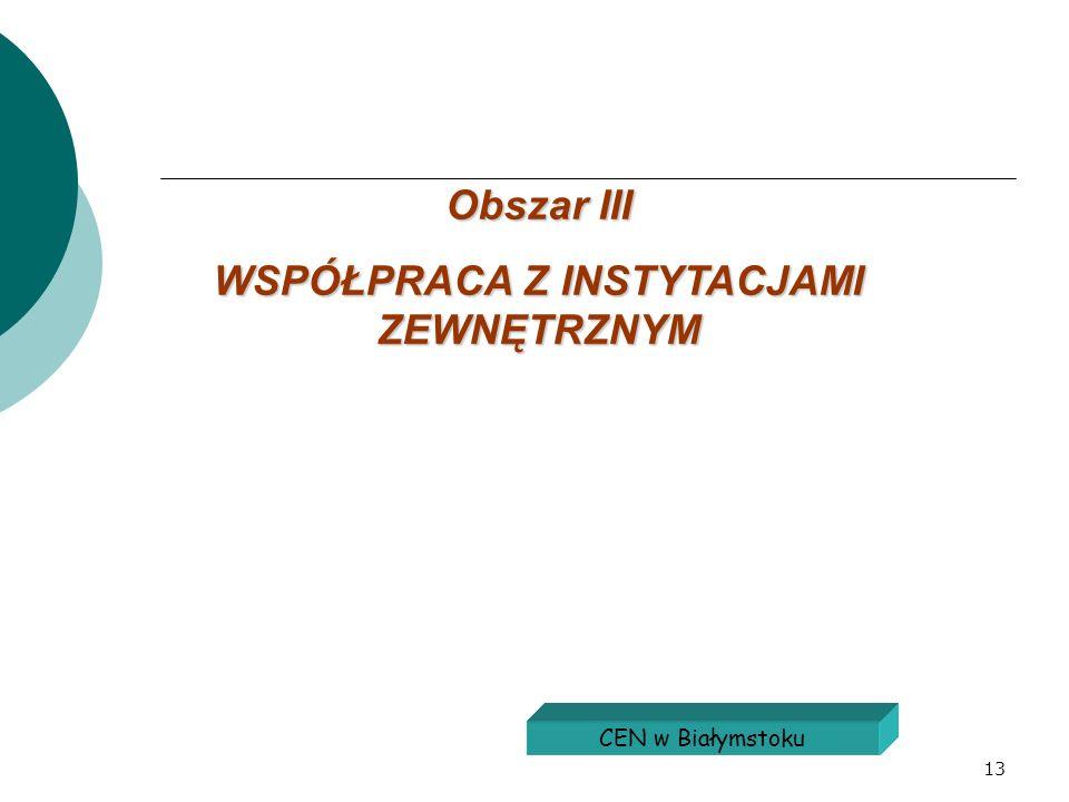 13 Obszar III WSPÓŁPRACA Z INSTYTACJAMI ZEWNĘTRZNYM CEN w Białymstoku