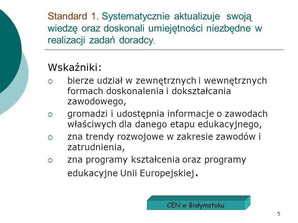 5 Standard 1. Systematycznie aktualizuje swoją wiedzę oraz doskonali umiejętności niezbędne w realizacji zadań doradcy. Wskaźniki: bierze udział w zew