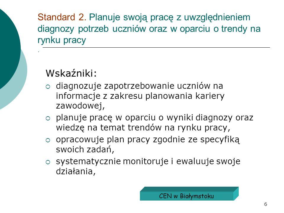 6 Standard 2. Planuje swoją pracę z uwzględnieniem diagnozy potrzeb uczniów oraz w oparciu o trendy na rynku pracy. Wskaźniki: diagnozuje zapotrzebowa