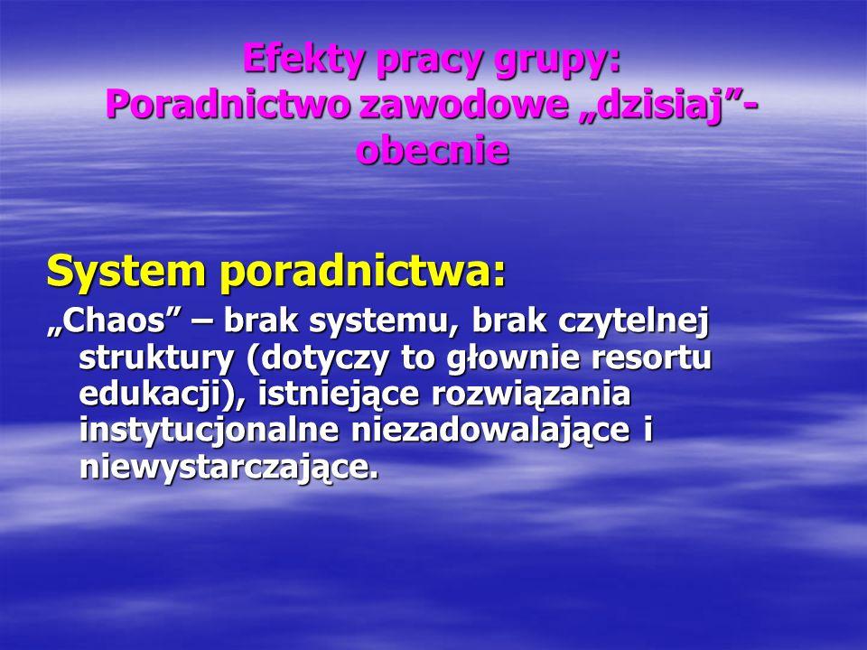 Efekty pracy grupy: Poradnictwo zawodowe dzisiaj- obecnie System poradnictwa: Chaos – brak systemu, brak czytelnej struktury (dotyczy to głownie resor