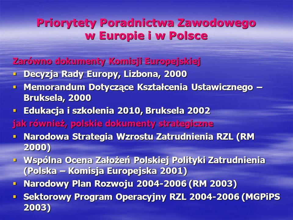 Priorytety Poradnictwa Zawodowego w Europie i w Polsce Zarówno dokumenty Komisji Europejskiej Decyzja Rady Europy, Lizbona, 2000 Decyzja Rady Europy,