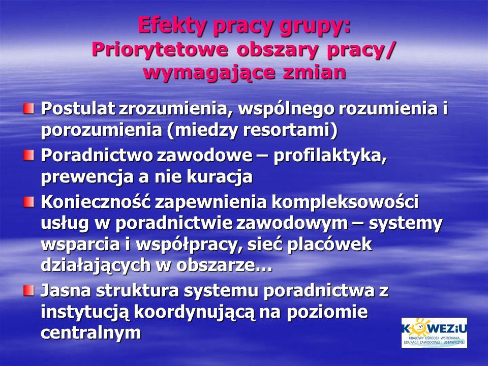 Efekty pracy grupy: Priorytetowe obszary pracy/ wymagające zmian Postulat zrozumienia, wspólnego rozumienia i porozumienia (miedzy resortami) Poradnic