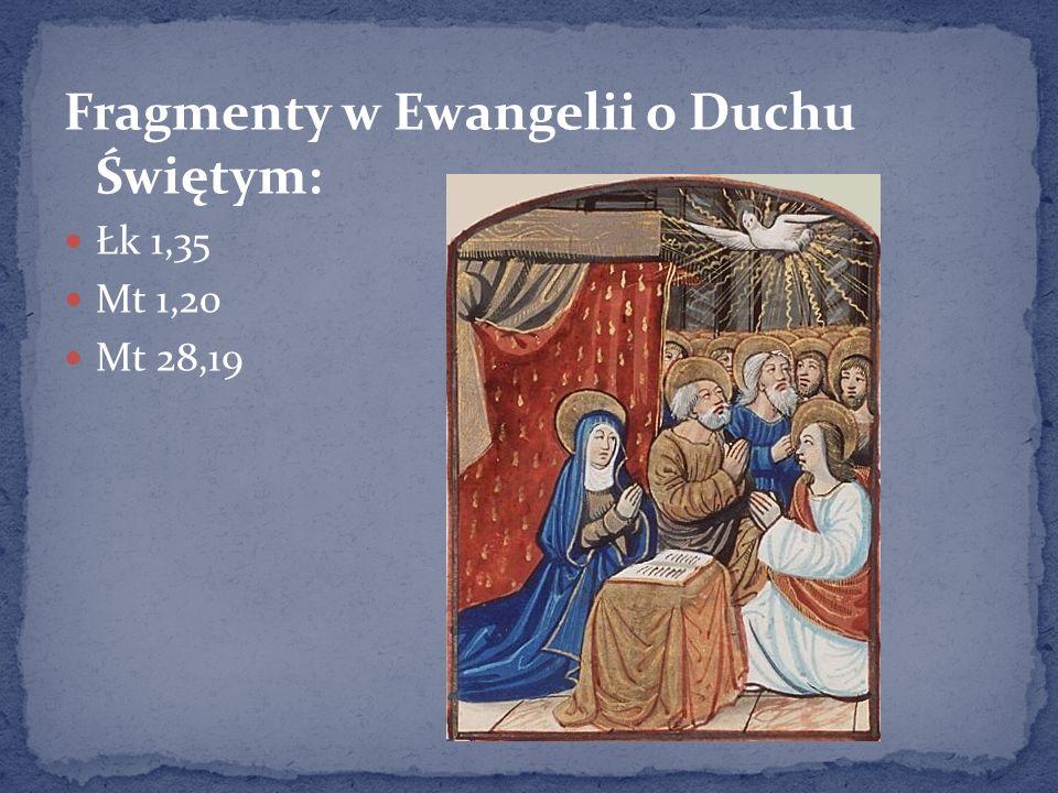 Fragmenty w Ewangelii o Duchu Świętym: Łk 1,35 Mt 1,20 Mt 28,19