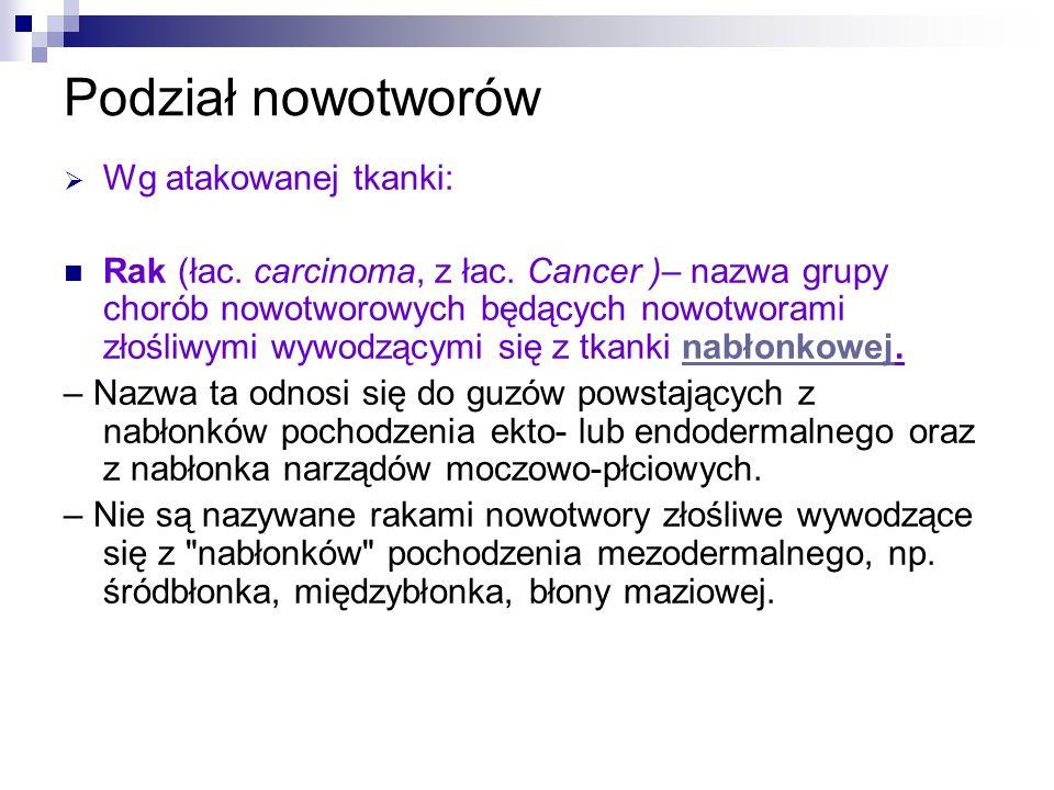 Podział nowotworów Wg atakowanej tkanki: Rak (łac. carcinoma, z łac. Cancer )– nazwa grupy chorób nowotworowych będących nowotworami złośliwymi wywodz