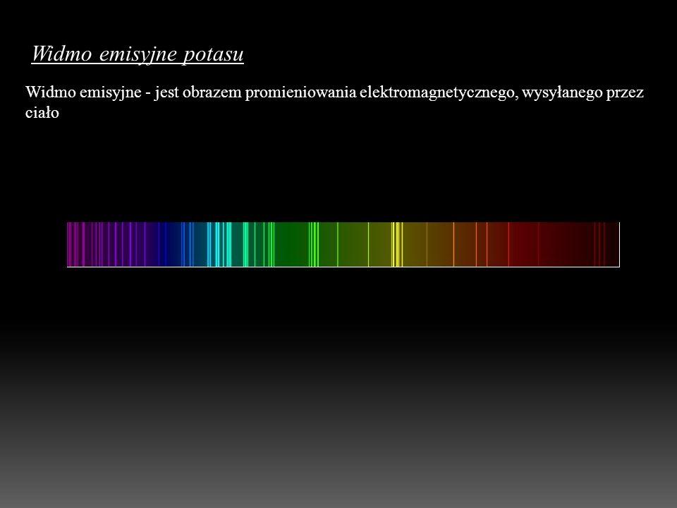 Widmo emisyjne potasu Widmo emisyjne - jest obrazem promieniowania elektromagnetycznego, wysyłanego przez ciało