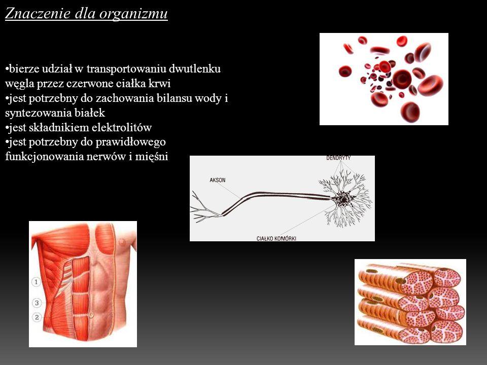 Znaczenie dla organizmu bierze udział w transportowaniu dwutlenku węgla przez czerwone ciałka krwi jest potrzebny do zachowania bilansu wody i syntezo