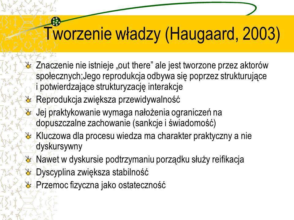 Tworzenie władzy (Haugaard, 2003) Znaczenie nie istnieje out there ale jest tworzone przez aktorów społecznych;Jego reprodukcja odbywa się poprzez strukturujące i potwierdzające strukturyzację interakcje Reprodukcja zwiększa przewidywalność Jej praktykowanie wymaga nałożenia ograniczeń na dopuszczalne zachowanie (sankcje i świadomość) Kluczowa dla procesu wiedza ma charakter praktyczny a nie dyskursywny Nawet w dyskursie podtrzymaniu porządku służy reifikacja Dyscyplina zwiększa stabilność Przemoc fizyczna jako ostateczność