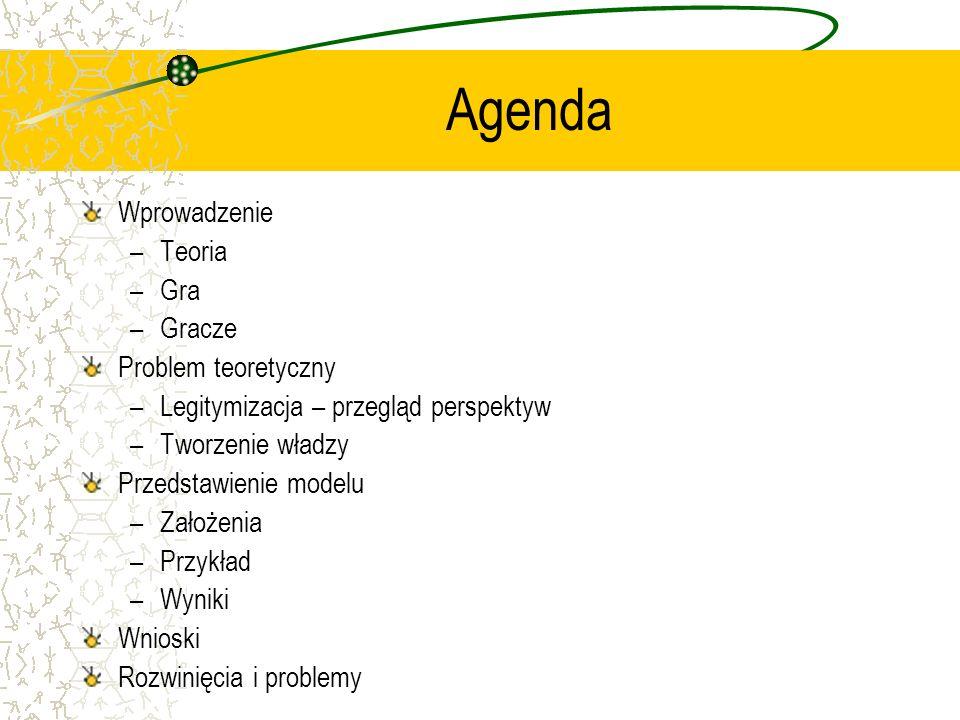 Agenda Wprowadzenie –Teoria –Gra –Gracze Problem teoretyczny –Legitymizacja – przegląd perspektyw –Tworzenie władzy Przedstawienie modelu –Założenia –Przykład –Wyniki Wnioski Rozwinięcia i problemy
