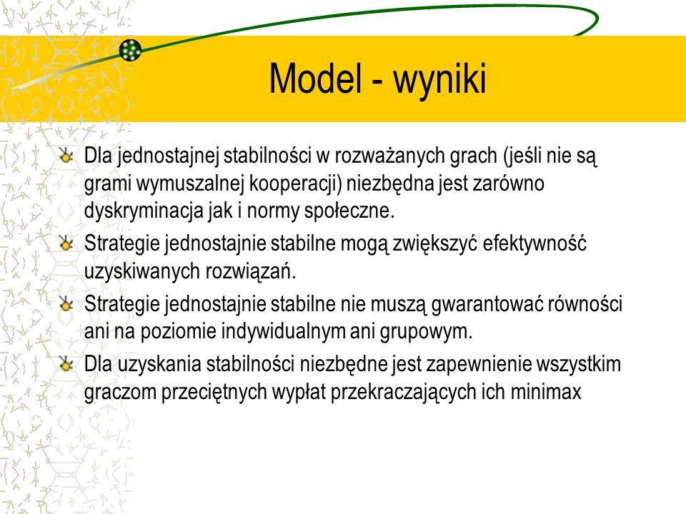 Model - wyniki Dla jednostajnej stabilności w rozważanych grach (jeśli nie są grami wymuszalnej kooperacji) niezbędna jest zarówno dyskryminacja jak i normy społeczne.